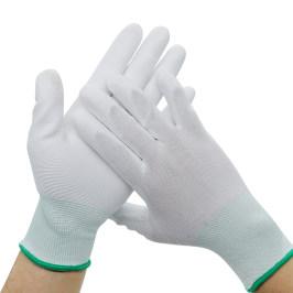 尼龙手套白色PU浸塑胶涂指涂掌劳保干活防滑耐磨薄款胶皮工作手套