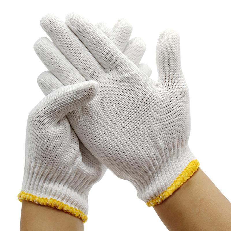 手套劳保耐磨工作加厚白纯棉纱尼龙薄款劳动修车线手套男工地干活