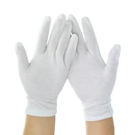 白手套薄款工作礼仪文玩珠宝质检作业盘珠开车加厚白色优质棉手套