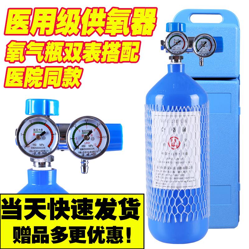 氧气瓶双表医用便携式2/4升家用小型氧气罐老人孕妇吸氧户外高原