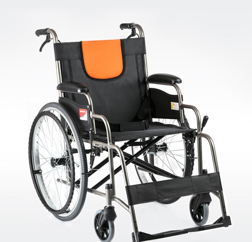 鱼跃轮椅H062铝合金老人轮椅折叠轻便老年手动代步车手推车