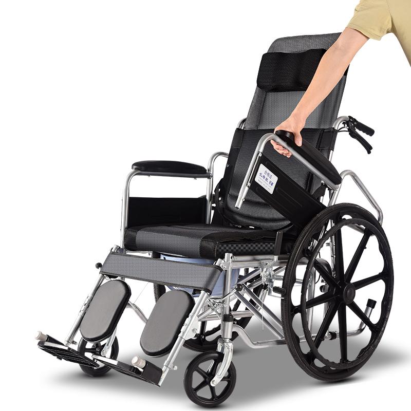 轮椅折叠轻便小巧型中老年人轮椅车带坐便器残疾病人代步手动推车